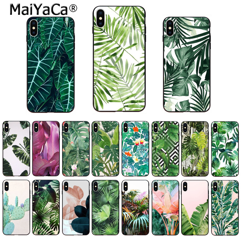 MaiYaCa lovely Phone Accessories Case Tropical Plants Cactus Banana Leaves for iPhone X XS MAX 6 6s 7 7plus 8 8Plus 5 5S SE XR image