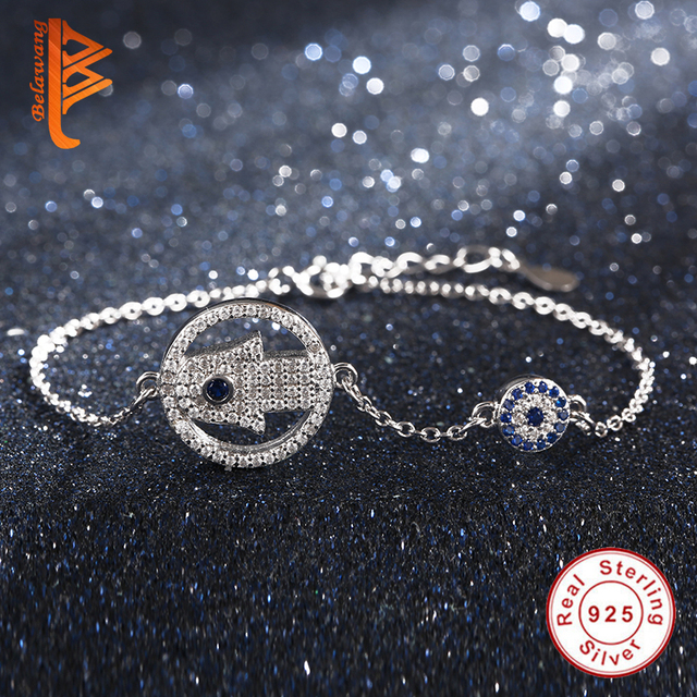 Original 100% 925 Sterling Silver Blue Clearly CZ God's Palm Hand Evil Eye Charm Bracelets for Women Authentic Jewelry Gift