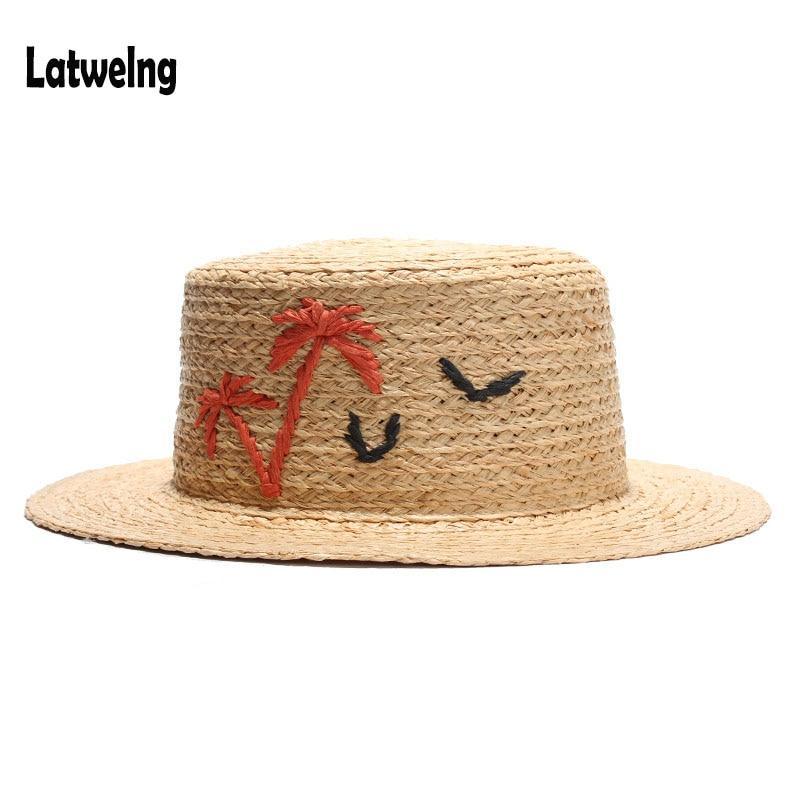 2018 New High Quality Summer Straw Sun Hats For Women Girls Handmade Raffia Flat Top Caps Party Cap Beach Hat Ajustable Lustrous