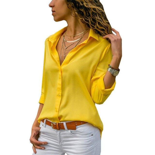 e662c0d5 Fashion Women Long Sleeve Office Work Blouse Button Down White/Yellow/Red  OL Shirt Ladies Casual Autumn Chiffon Lapel Tops Shirt
