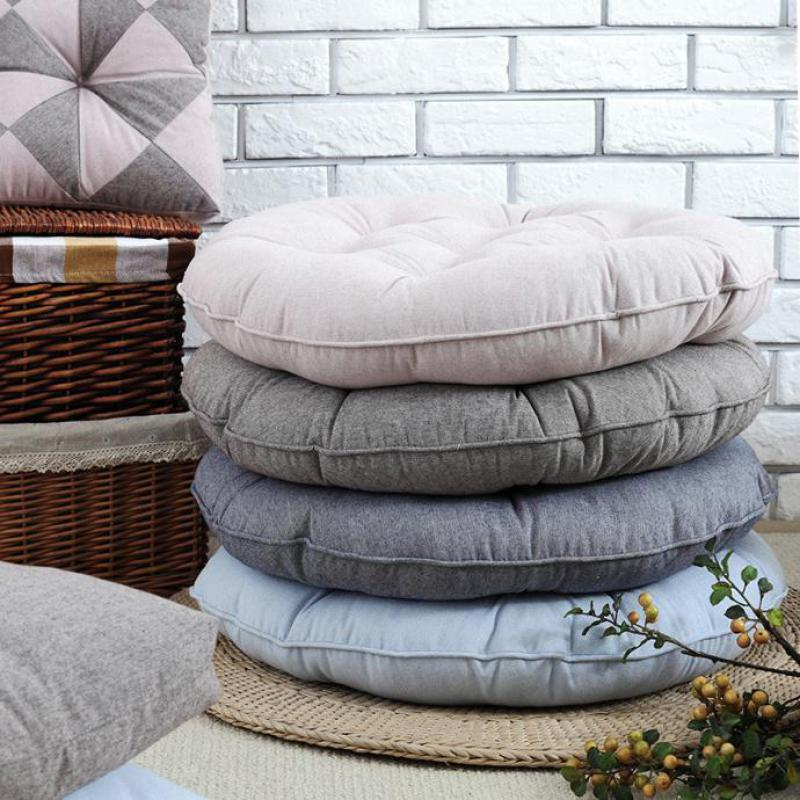 55 Cm Large Size 100 Cotton Seat Cushion Futon Yoga Floor Tatami Chair Round Cushions Modern Solid Home Sofa Decoration In From Garden