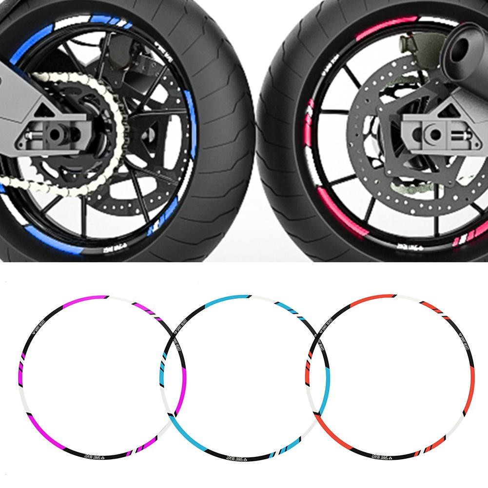 Motorcycle Stickers 10 Or 12or18 Inch 7 Colors Reflective Motorcycle Accessories Car Styling Wheel Rim Sticker Red /Blue /Purple