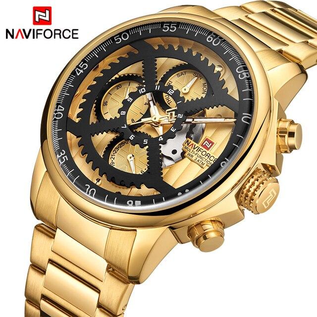 NAVIFORCE Mannen Mode Sport Horloges Mannen Goud Quartz Klok Mannelijke Top Luxury Brand Militaire Polshorloge Relogio Masculino