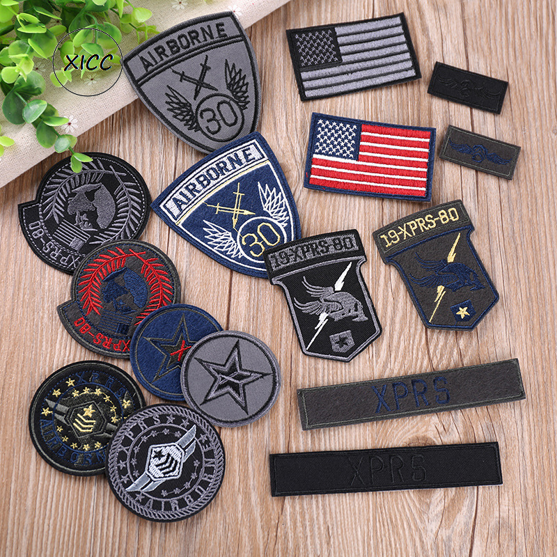 XICC New Army Military Appliques Badges Cool National Flag Tactical Embroidered Patches for Clothes Fashion DIY Stripe Stickers
