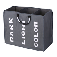 3 Section Large Foldable Oxford Laundry Black Basket Bag Dirty Clothes Storage Bag Organizer with Aluminum Handles