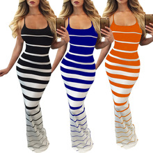 Style women dress womens clothing new striped ladies female strapless sexy slim backless dresses