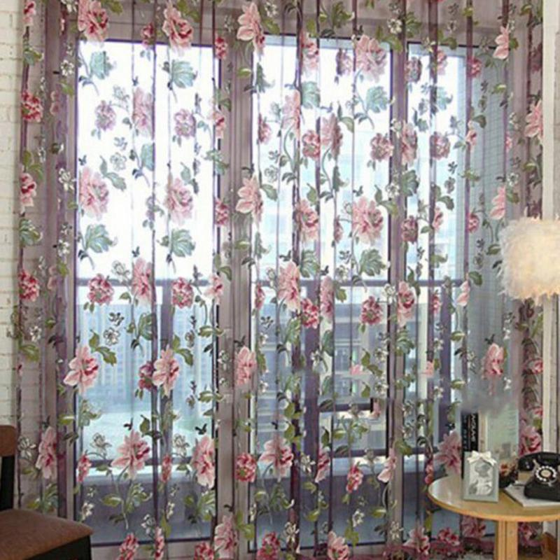 Purple floral curtains sheer curtains for living room curtains for bedroom home decoration - Sitting room curtain decoration ...