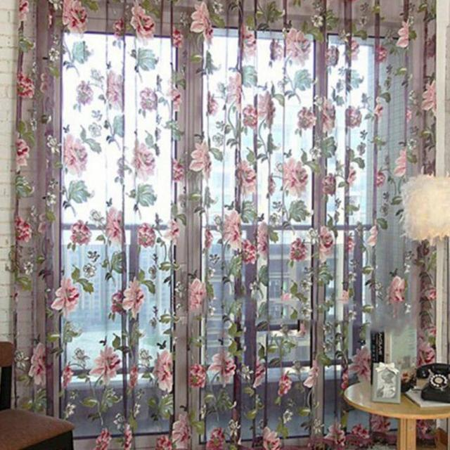 Purple Floral Curtains Sheer Curtains for Living Room ...