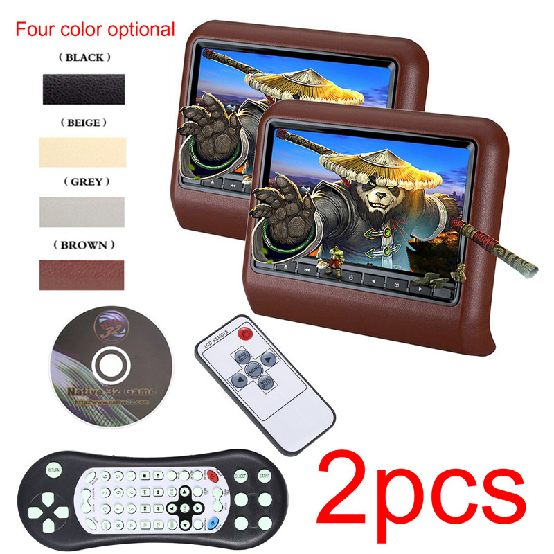2 pes 9 Inch 800*480 Car Headrest Monitor DVD Player USB/SD/HDMI/FM/Game TFT LCD Screen Touch Button Support Wireless Headphone 9 inch tft lcd digital touch screen car headrest dvd player multimedia player monitor 1 pcs