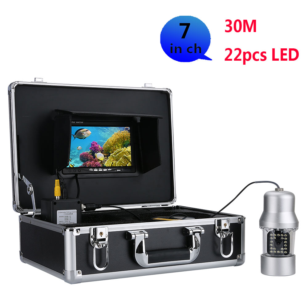 15m 30m Underwater Fishing Video Camera Fish Finder 7 Inch Color Screen Waterproof 22 Leds 360 Degree Rotating Camera