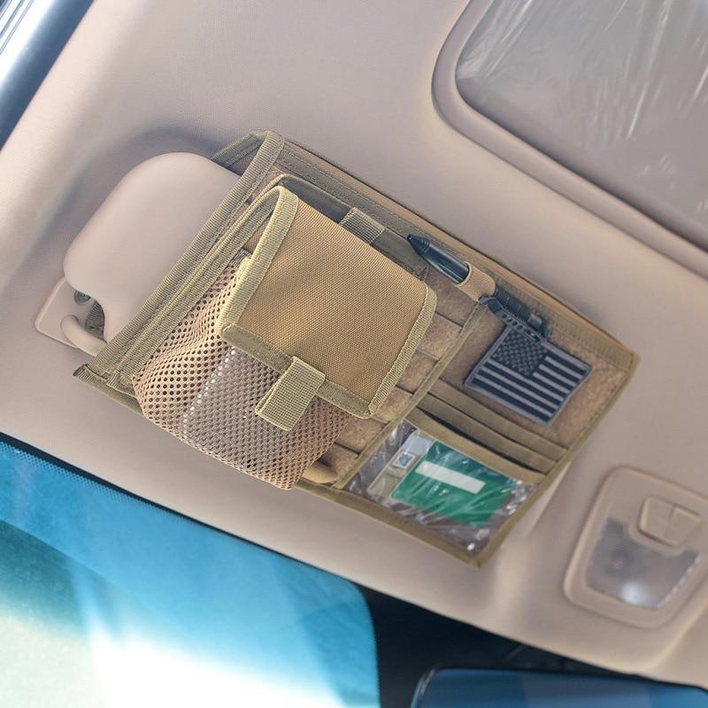 Tactical MOLLE Vehicle Visor Panel Truck Car Sun Visor Organizer CD Bag Holder Car Styling Hunting Accessories