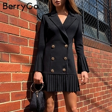 BerryGo Double breasted women dress Office ladies pleated ca