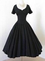 New O Neck Vintage Dress A Line Black Women Party Dress Retro 1950s Rockabilly Pin Up