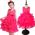 2016 New Baby Girl Dress Summer 3-8 Years Floral Baby Girls Dresses Vestidos 6 Colors Wedding Party Baby Clothes Free Shipping