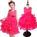 2016 Nueva Niña Vestido de Verano 3-8 Años Del Bebé Floral Vestidos de las muchachas Vestidos 6 Colores Banquete de Boda de La Ropa Del Bebé Del Envío gratis