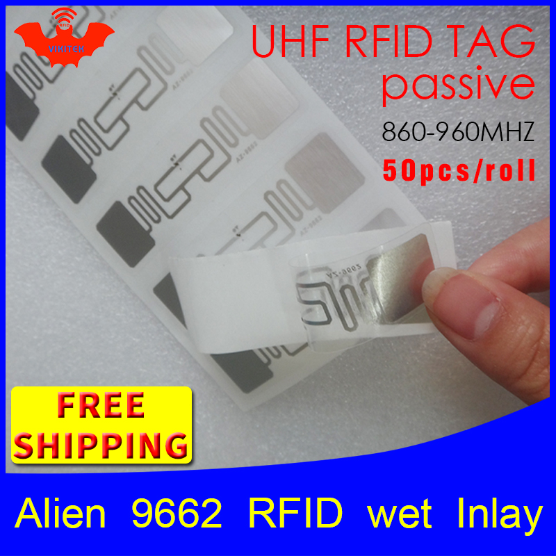RFID Tag UHF Sticker Alien 9662 Wet Inlay 915mhz868mhz 860-960MHZ Higgs3 EPC 6C 50pcs Free Shipping Adhesive Passive RFID Label
