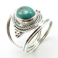 Natural Turquoises Ring Size 9 Handmade Jewelry Silver Unique Designed