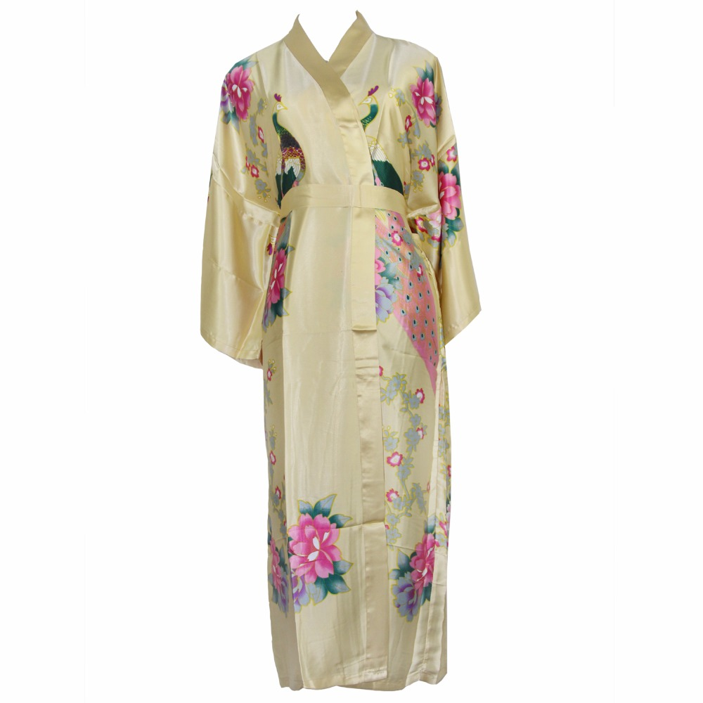 Chinese Ladies Yellow Robe Novelty Bath Gown Printed Flower kimono Rayon Loose Sleepwear Women Nightwear One Size