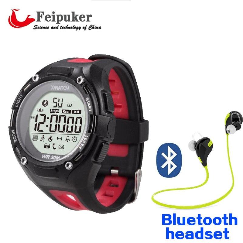 imágenes para 1xwatch Reloj Inteligente Natación Conectividad Bluetooth A Prueba de Polvo A Prueba de agua Noche Visible Parada Wacht para mujeres hombres niños pk fitbits