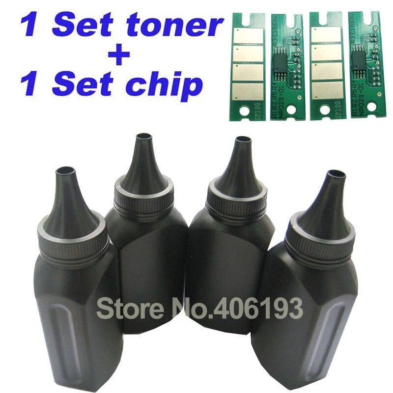 4 Toner + 4 Chips Voor Ricoh Aficio Sp3400 Sp 3400 Sp3400n Sp 3410 Sp3410 Sp 3500 Sp3500n Sp3510dn Refill Fles Toner Poeder