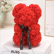 Red Rose Bear 25cm Flower Roses Artificial Valentines Romantic Gift Girlfriend Anniversary Birthday Present Foam