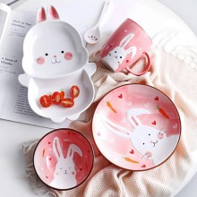 New Baby Infant Cute Ceramic cartoon rabbit Shape Feeding Plate Fruit Snack Dishes Kids Children Tableware