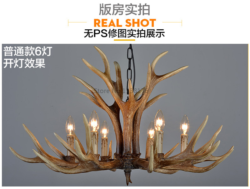 American E14 6 8 10 Heads Europe Deer Horn Antler Pendant Lamp Resin Antler Lampshade Parlor Hall Decor Suspension Luminaire5