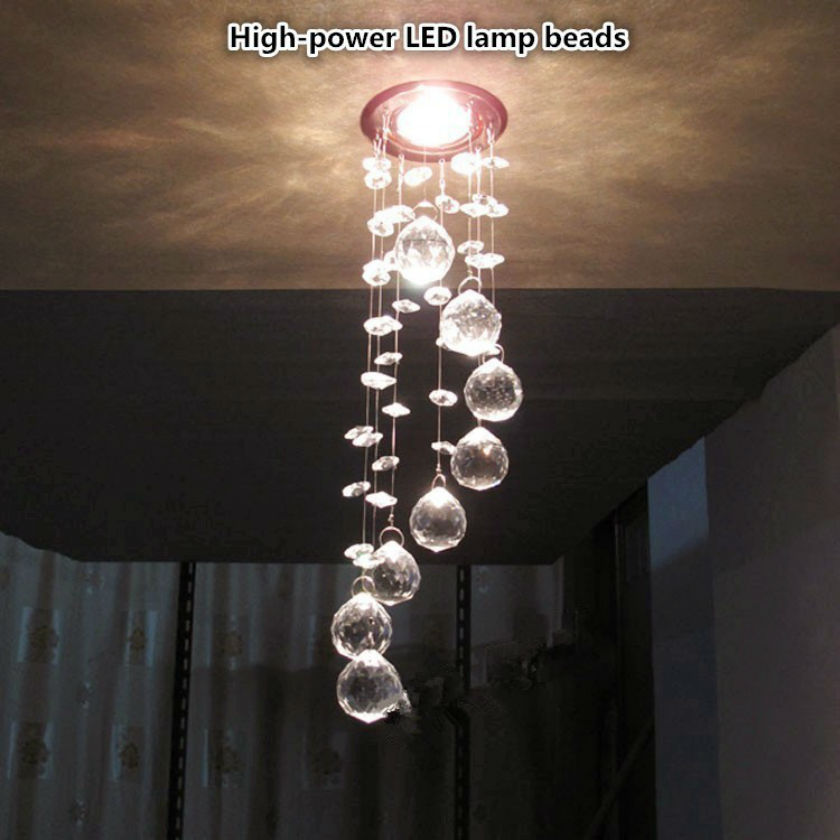 New Simple fashion High-power LED lamp k9 crystal Pendant Lights bedroom living room dining Aisle Ceiling lamp luster 85v-260v
