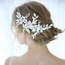 Jewelry Headpiece White Hair-Accessories Barrettes Pearls Floral Leaf-Bridal Wedding