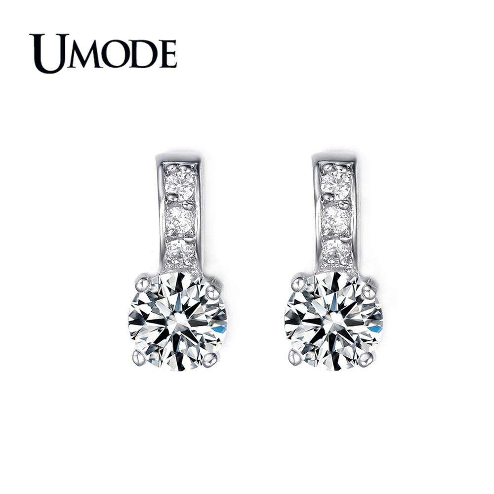 UMODE 2019 New Fashion White Gold CZ Crystal Stud Earrings for Women Jewelry Wedding Engagement Pendientes Mujer AUE0041