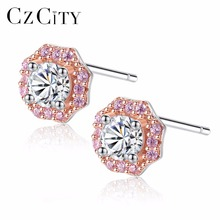CZCITY Authentic 925Sterling Silver Sweet Pink Zircon Stud Flower Earrings for Women Sterling-Silver-Jewelry White & Gold Plated