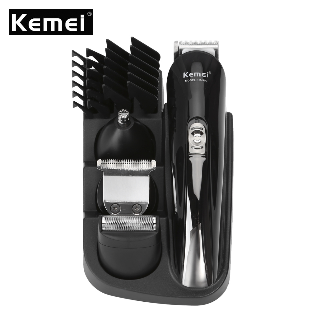 KEMEI KM - 500 8 in 1 Rechargeable Hair Trimmer Clipper Haircut Set Hair Cutting Machine Shaver Beard Trimmer Styling Tools rechargeable hair trimmer with accessories set silver 220v ac