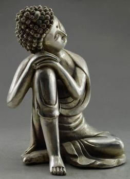 Collectible Decorated Old Handwork Tibet Silver Carved sleep Buddha Statue