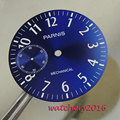 New 38.9mm Parnis blue dial white markers fit 6497 hand winding movement Men's Watch dial