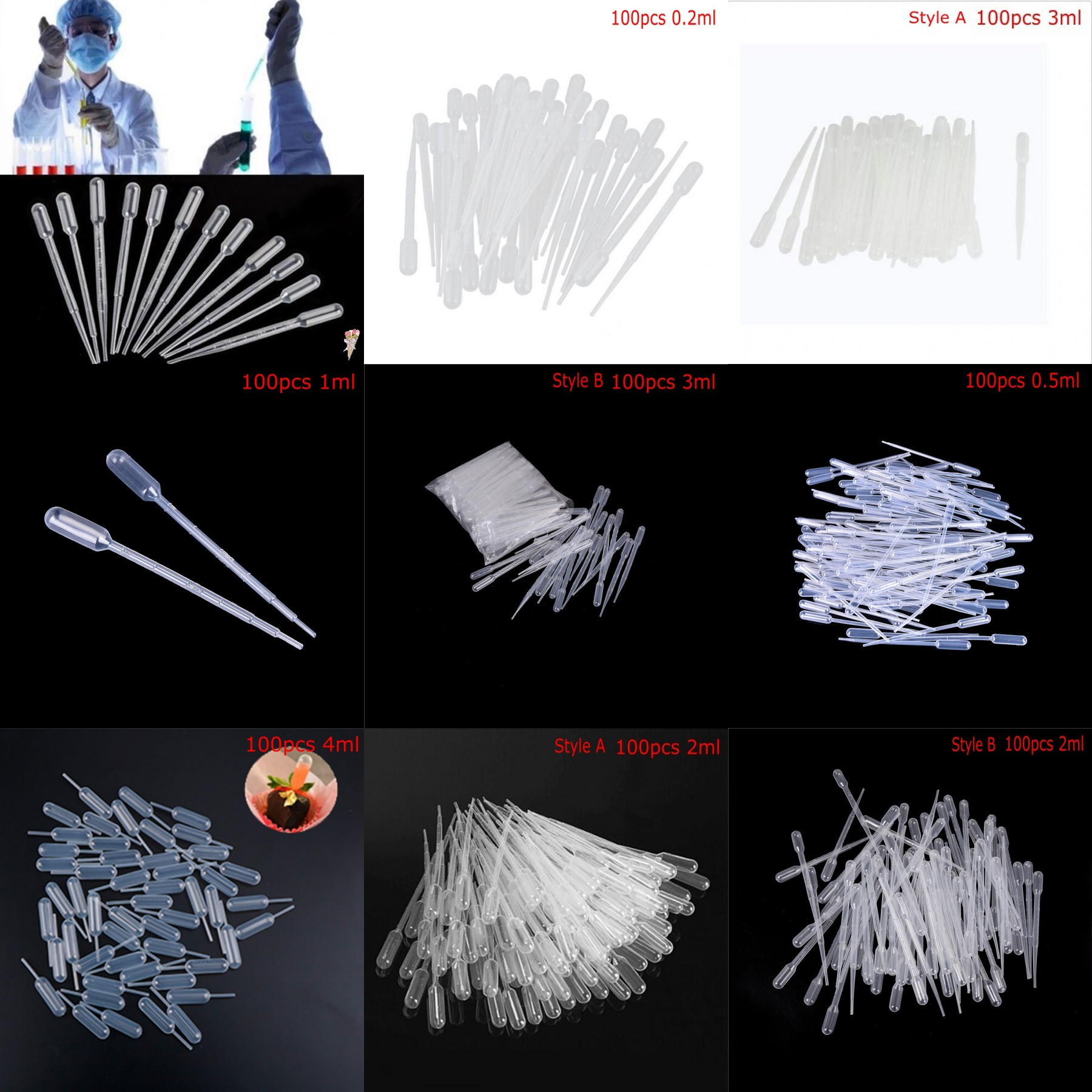 100Pcs 0.2/0.5/1/3/4ML Pipettes Plastic Disposable Graduated Pasteur Pipette Dropper Polyethylene Makeup Tools Laboratory Tools