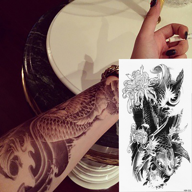 1 Pc New Arrival Czarny Kwiat Lotosu Tymczasowy Tatuaż Szczęście