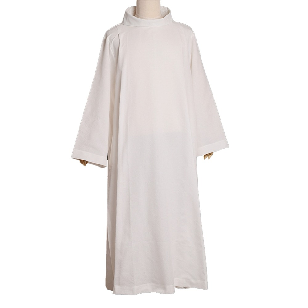 BLESSUME Catholic White Alb Priest Vestments Solid White Robe Roll Collar Costume D001