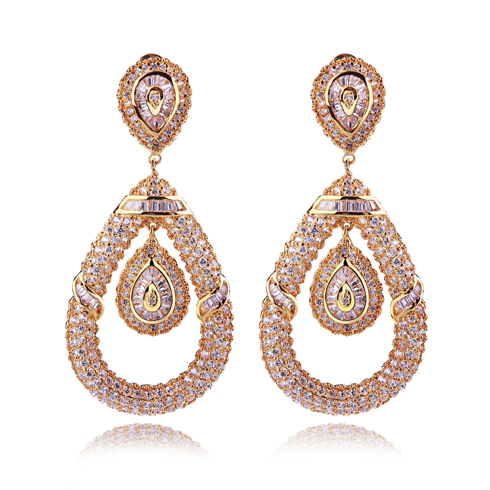Brand New Design Fashion Big Drop Dangle Earrings for Women Charm Luxury Wedding Party Jewelry Cubic Zircon Long Earrings new luxury brand fine exquisite sunshine full of small earrings for women circle wedding party earrings fashion jewelry