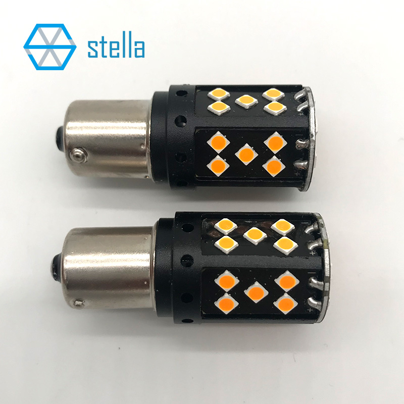 цена на 2pcs 1156/BA15S/P21W 100% Canbus automotive LED Bulb Amber Lamp For Front/Rear LED Turning Light/Indicator 12V/24V Super Bright