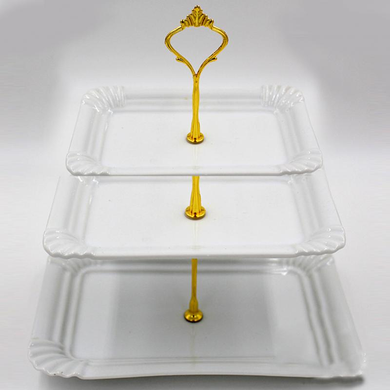 2018 New Arrival 1 Set 3 Tier Cake Plate Stand Handle Crown Fitting Metal Wedding Party For Wedding Birthday Party Afternoon Tea