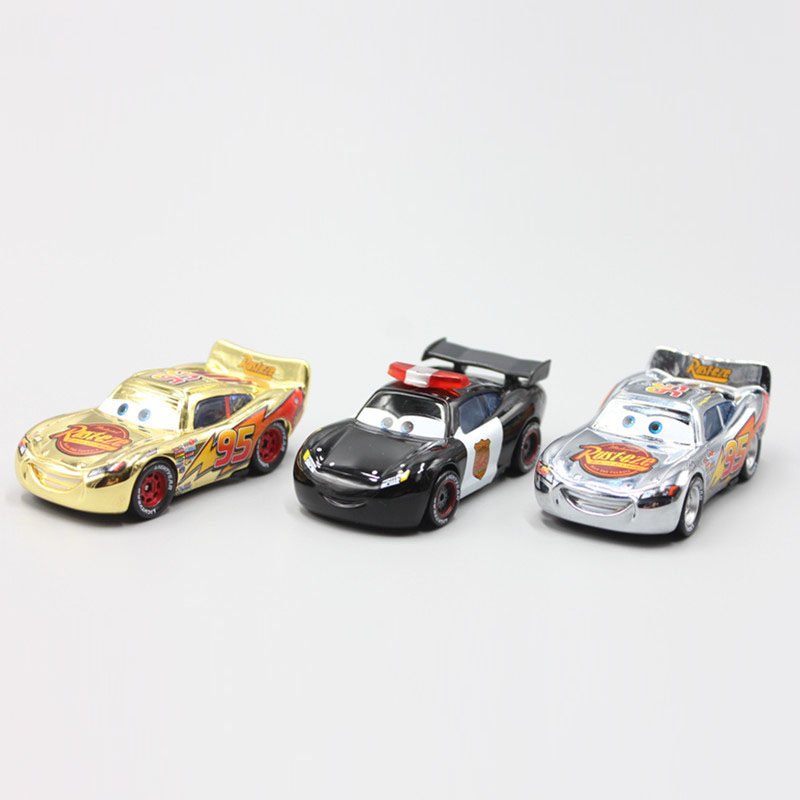Pixar Cars 3pcs/Lot Gold Silver Police Lightning McQueen Diecast Metal Toy Car For Children Gift 1:55 Loose Brand New In Stock disney pixar cars frank and tractor diecast toy car for children gifts 1 55 loose alloy modle brand new in stock