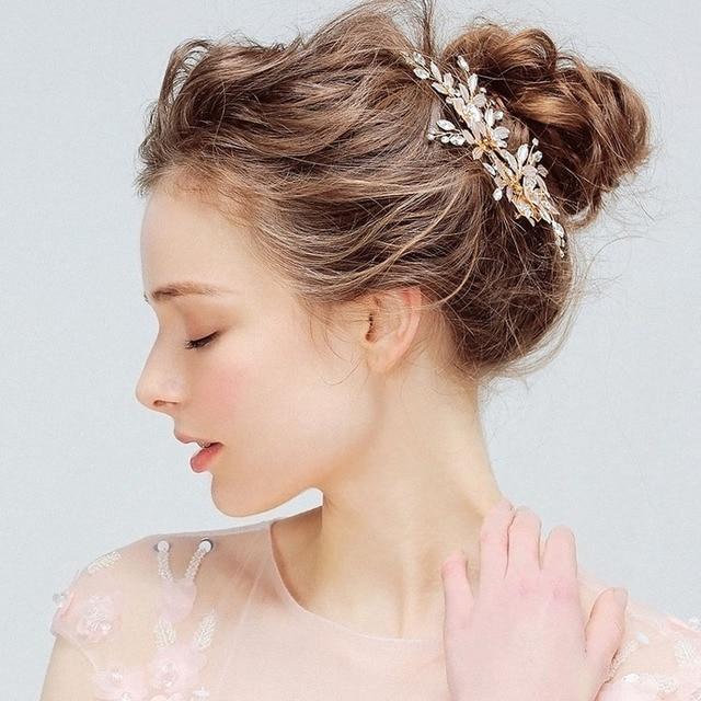 SLBRIDAL Handmade Golden Austrian Crystals Rhinestones Flower Leaf Wedding Hair Clip Barrettes Bridal Headpiece Hair accessories 5