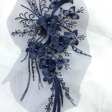 10 Pieces Embroidered Flower Lace Applique Fabric Applique Flowers Braid Trim 3D Beads Lace Accessories For Women Dress Shoes balloon sleeve embroidered applique dress