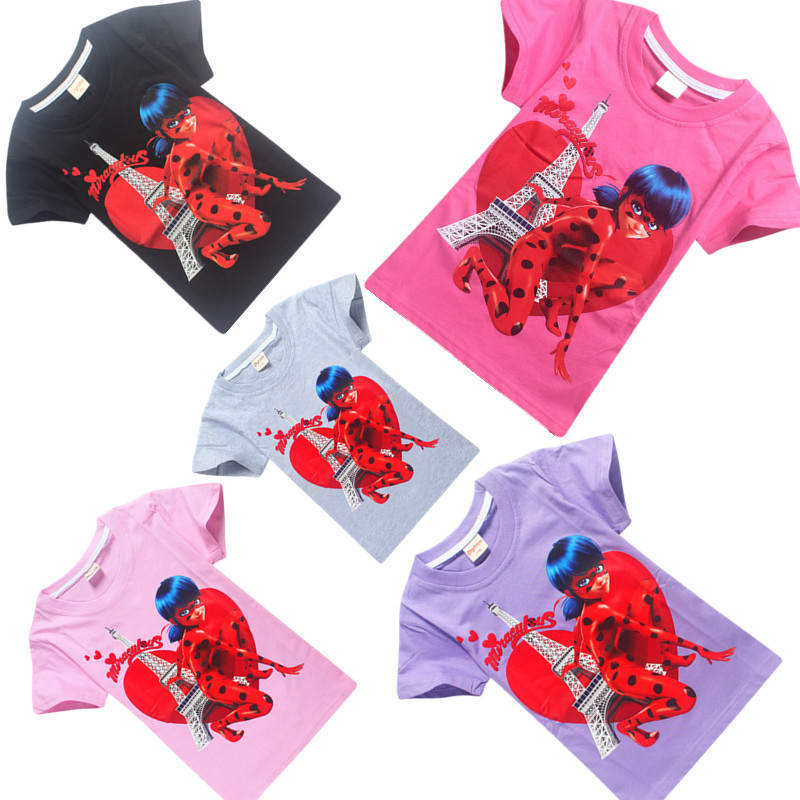 Baju Anak Perempuan New Summer Girls Clothes Tops Tees Miraculous Ladybug Childrens Clothing Tshirt Baby Kids T-shirt Clothes