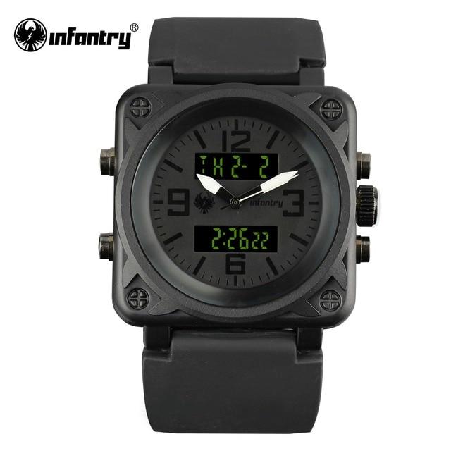 81f67640423 INFANTARIA Relógio Militar Homens Exército Tático Quadrado Mens Relógios  Top Marca de Luxo LED Digital Preto
