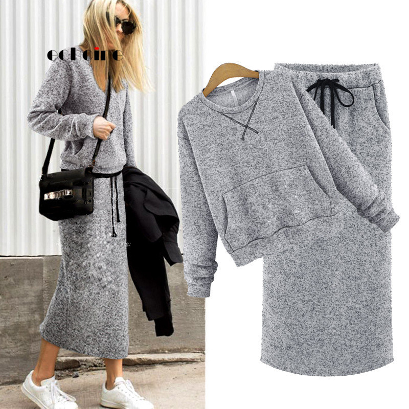 Echoine Suit Female Hoodie Skirt Maxi-Dress Pockets Two-Piece-Set Lace-Up Gray Cashmere title=