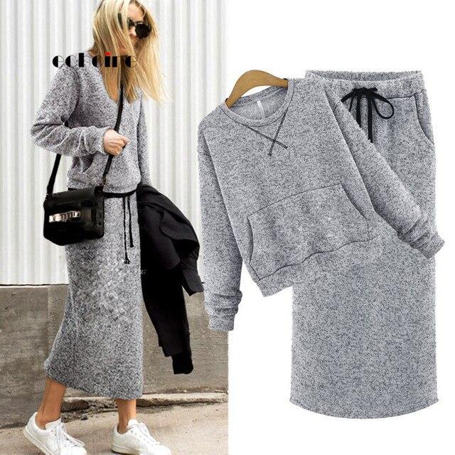 Комплект из худи с юбки Echoine женский с карманами и кружевами