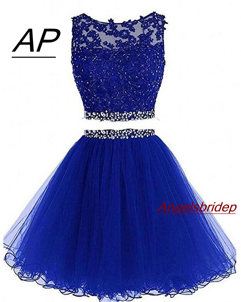 Two Pieces 1960S High Neck Homecoming Dresses Sexy Hollow Back Beading Tulle Short Cute 8th Grade