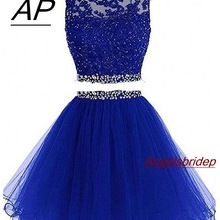 Два предмета, 1960 S, платье для выпускного вечера с высоким горлом, сексуальное, с открытой спиной, с бисером, из тюля, короткие, милые, 8 класс, выпускные платья размера плюс