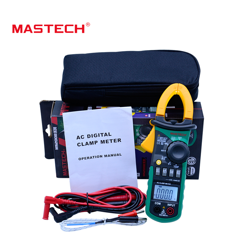 MASTECH MS2008B Digital Multimeter Amper AC Clamp Meter Pincers AC/DC Voltage Resistance Tester + auto/manual range mini multimeter holdpeak hp 36c ad dc manual range digital multimeter meter portable digital multimeter